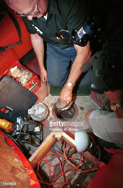 Locksmith Walt Marty Martin lifts the door of the floor safe that once belonged to 1940''s gangster Benjamin Bugsy Siegel May 24 2000 at the Formosa...