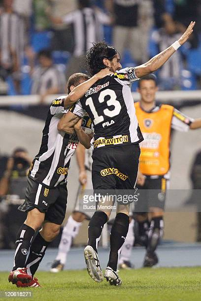 Loco Abreu of Botafogo celebrates scored goal againist Vasco during a match as part of Serie A 2011 at Engenhao stadium on August 07, 2011 in Rio de...