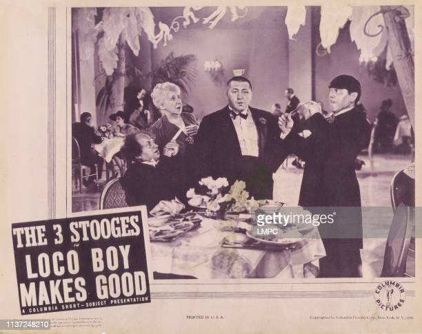 Loco Boy Makes Good poster from left Larry Fine Frances Raymond Curly Howard Moe Howard 1940