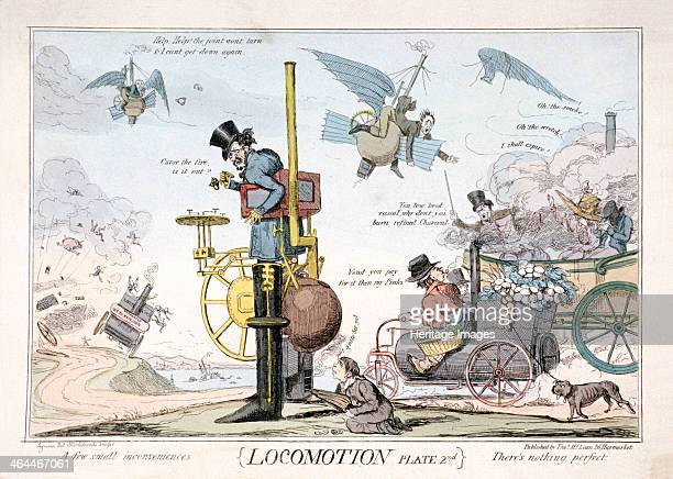'Locomotion' London c1820 In the centre a man wearing steam driven boots has ground to a halt as the fire has gone out below a servant attempts to...