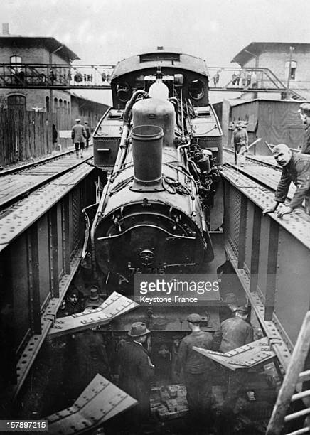 A locomotive during a stop in the station in 1927 in Potsdam Germany