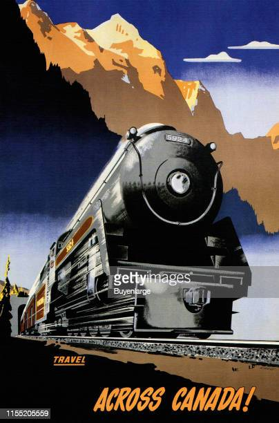 Locomotive in front of Canadian Rockies Canada 1950 Image taken from a Canadian Pacific travel poster of the steamship era