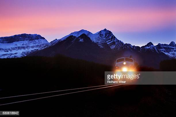 Locomotive in Mountains at Night