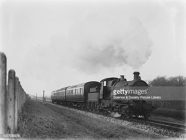 GWR locomotive no 3417 at Landkey Great Western Railway 440 Bulldog class locomotive no 3417 on 3 coach up local at Landkey c1927 Photograph by...