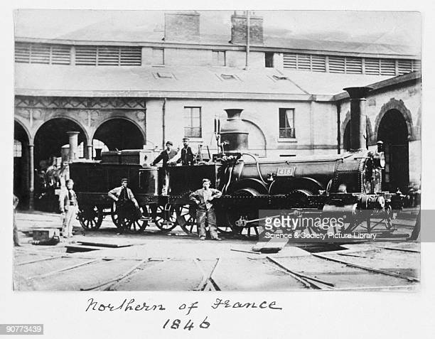 Locomotive number 418 and workers 1846 This locomotive operated on the Northern of France lines The Northern of France served stations between Paris...