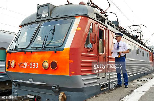 Locomotive on the railway station in Moscow