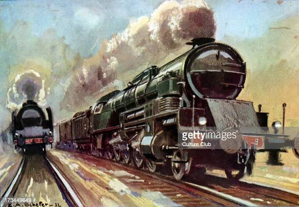 Locomotive 'Santa-Fe', for cargo trains of up to 2000 tons, with maximum speed of 55 km per hour. After painting by Schefer.