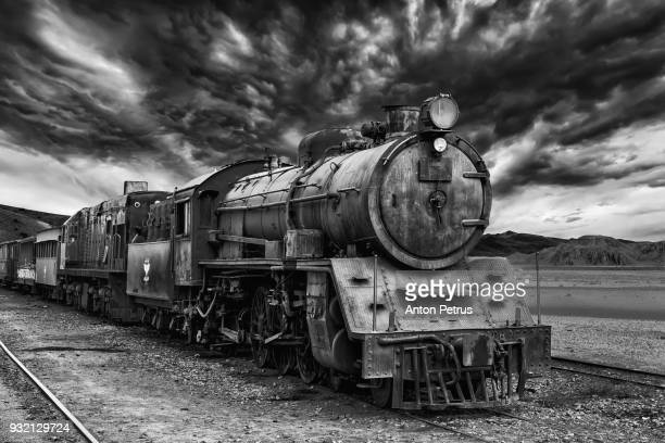 GoEoo 9x6ft Countryside Locomotive Backdrop Vintage Old Steam Train Station Winter Country Antique Rusted Railway Engine Photography Background Photo Studio Props