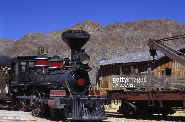 Locomotive à vapeur dans le parc de loisirs du ?Old Tucson Studios?, à Tucson, en Arizona, le 30 mars 1988, Etats-Unis.