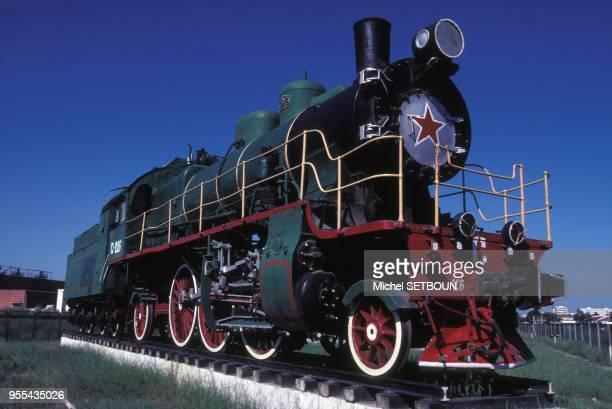 Locomotive à vapeur du musée des chemins de fer à Oulan-Bator, Mongolie.