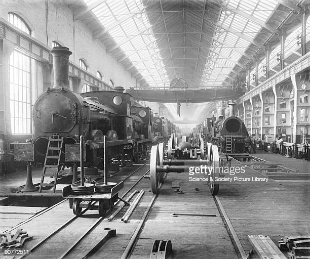 Locomotives in the erecting shop at Horwich works This shop was where the locomotives were put together It was equipped with 20 cranes tools for...