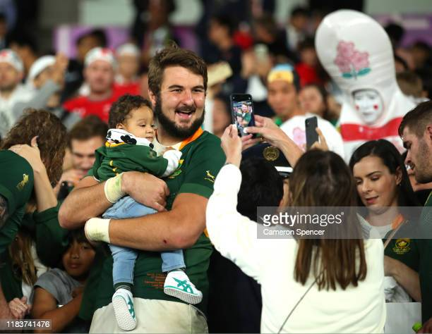 Lodewyk De Jager of South Africa celebrates following his team's victory in the Rugby World Cup 2019 SemiFinal match between Wales and South Africa...