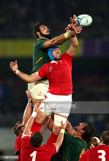 Lodewyk De Jager of South Africa competes for a line out ball with Justin Tipuric of Wales during the Rugby World Cup 2019 SemiFinal match between...