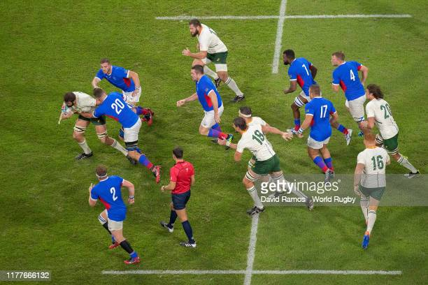 Lodewyk de Jager of South Africa is tackled by Janco Venter during the Rugby World Cup 2019 Group B game between South Africa and Namibia at City of...
