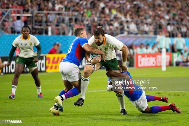 Lodewyk de Jager of South Africa is tackled during the Rugby World Cup 2019 Group B game between South Africa and Namibia at City of Toyota Stadium...