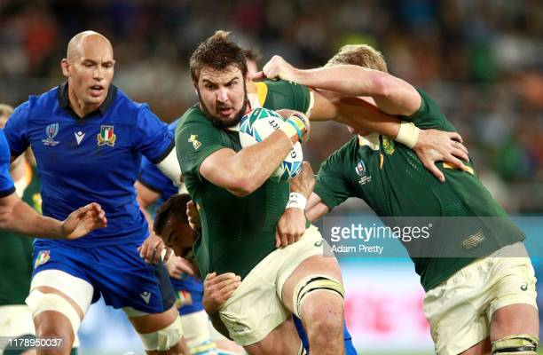 Lodewyk De Jager of South Africa on the charge during the Rugby World Cup 2019 Group B game between South Africa v Italy at Shizuoka Stadium Ecopa on...
