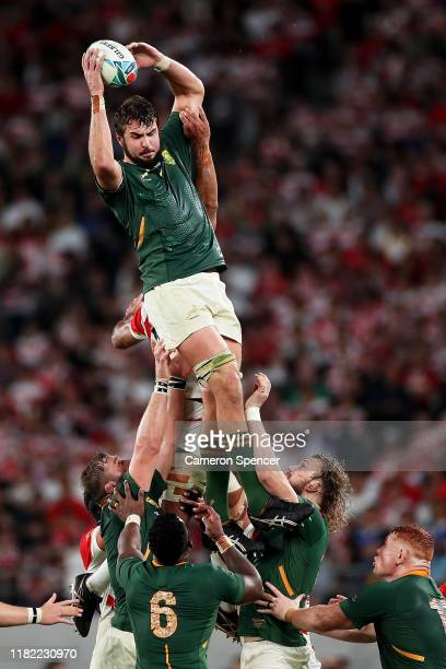 Lodewyk De Jager of South Africa wins a lineout during the Rugby World Cup 2019 Quarter Final match between Japan and South Africa at the Tokyo...