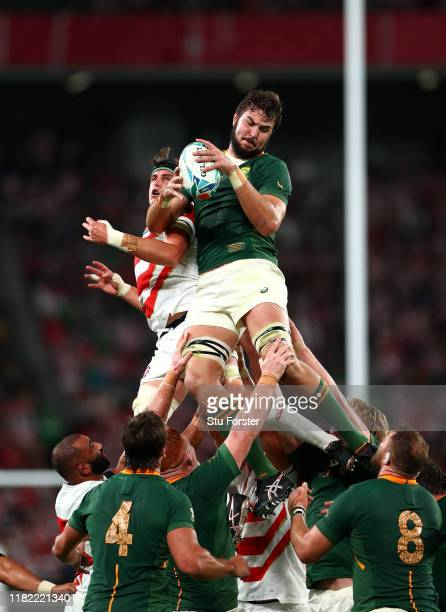 Lodewyk De Jager of South Africa wins the ball in the lineout during the Rugby World Cup 2019 Quarter Final match between Japan and South Africa at...