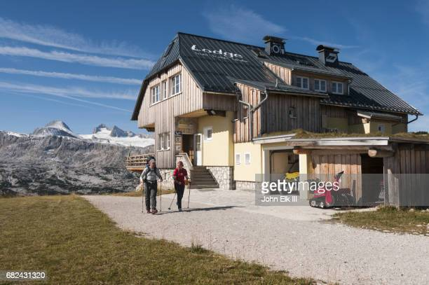Lodge in Austrian Alps with visitors
