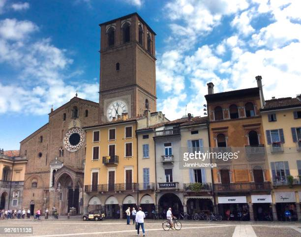 Lodi, Italy: Piazza Duomo with Pedestrians and Bicyclist