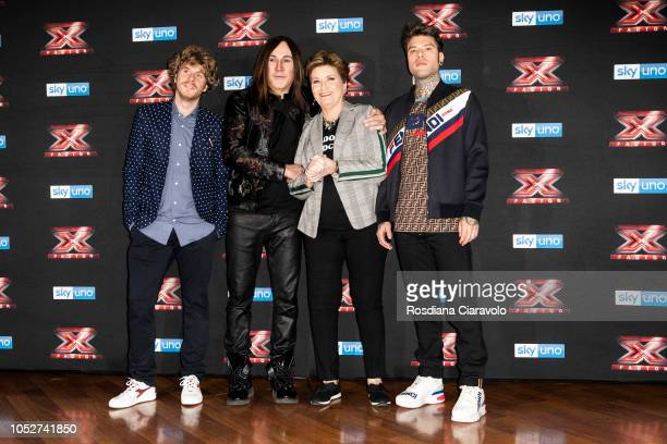 Lodo Guenzi Manuel Agnelli Mara Maionchi and Fedez attend X Factor 2018 photocall at Teatro Linear Ciak on October 22 2018 in Milan Italy