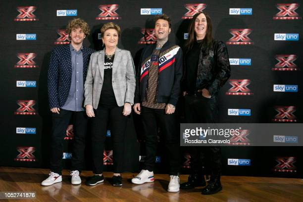 Lodo Guenzi Mara Maionchi Fedez and Manuel Agnelli attend X Factor 2018 photocall at Teatro Linear Ciak on October 22 2018 in Milan Italy