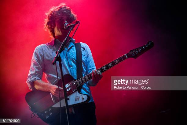 Lodo Guenzi of the group Lo Stato Sociale performs on stage on July 29 2017 in Rome Italy