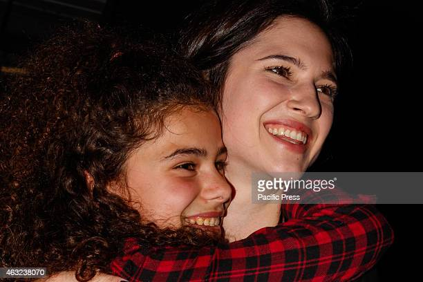 Lodovica Comello and a warm embrace with a fan