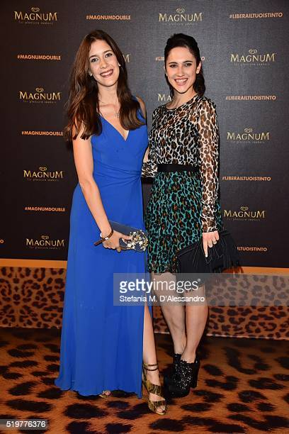 Lodovica Comello and Clara Alonso attend 'Libera Il Tuo Istinto' Party by Magnum on April 7 2016 in Milan Italy