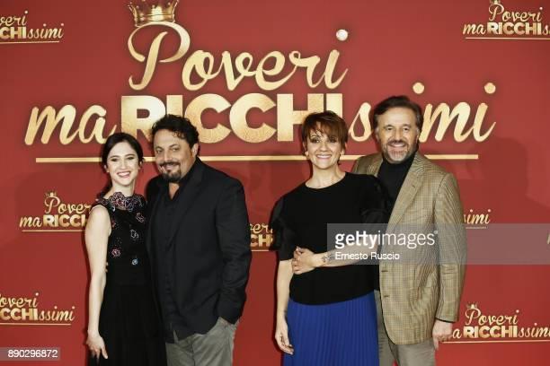 Lodovica Comello Enrico Brignano Lucia Ocon and Christia De Sica attend 'Poveri Ma Ricchissimi' photocall on December 11 2017 in Rome Italy