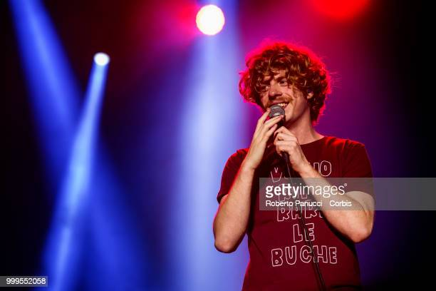 Lodovico Guenzi and his group Lo Stato Sociale performs on stage on July 14 2018 in Rome Italy