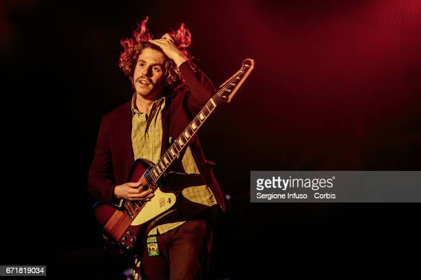 Lodovico Guenzi of Italian electropop band Lo Stato Sociale performs on stage on April 22 2017 in Milan Italy