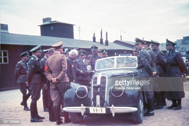 Lodz Ghetto, Mordechai Chaim Rumkowski, the Judenälteste ('Elder of the Jews' reports to Heinrich Himmler, who is sitting in his car SS-1. 1942. The...