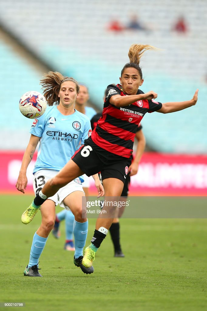 Lo'eau LaBonta of the Wanderers attempts a header during the round nine W-League match between the Western Sydney Wanderers and Melbourne City at ANZ Stadium on January 1, 2018 in Sydney, Australia.