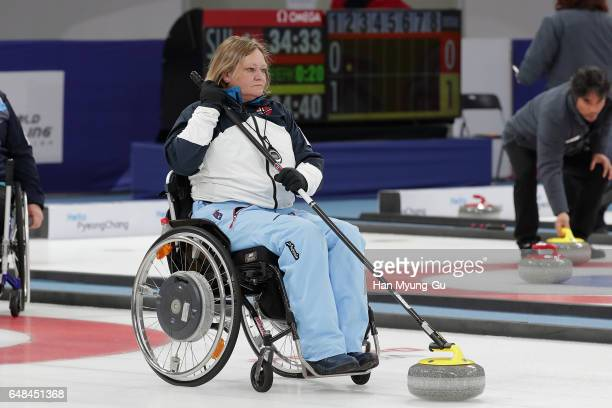 Loechen Sissel from Norway delivers a stone during the World Wheelchair Curling Championship 2017 test event for PyeongChang 2018 Winter Olympic...