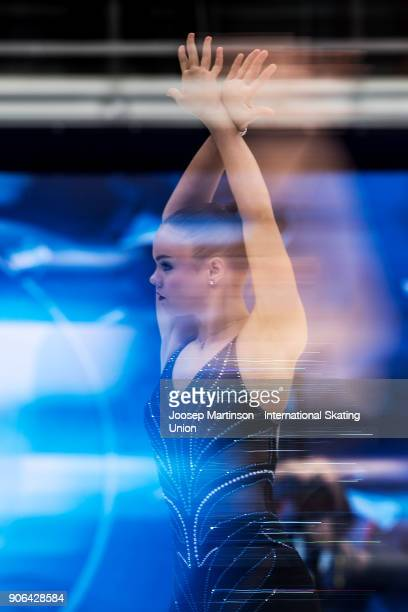 Loena Hendrickx of Belgium competes in the Ladies Short Program during day two of the European Figure Skating Championships at Megasport Arena on...