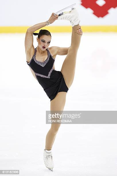 Loena Hendrickx of Belgium performs her routine in the Ladies' free skating during the figure skating Finlandia Trophy competition in Espoo, Finland,...