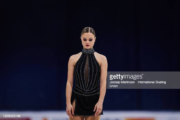 Loena Hendrikx of Belgium competes in the Ladies Free Skating during day three of the ISU World Figure Skating Championships at Ericsson Globe on...