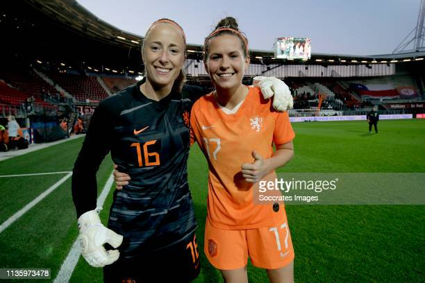 Loes Geurts of Holland Women Merel van Dongen of Holland Women celebrates the victory during the International Friendly Women match between Holland v...