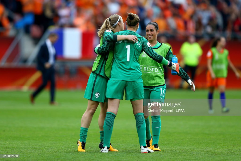 Loes Geurts, Sari van Veenendaal and Angela Christ of the Netherlands celebrata afetr winning the UEFA Women's Euro 2017 Group A match between Netherlands and Norway at Stadion Galgenwaard on July 16, 2017 in Utrecht, Netherlands.