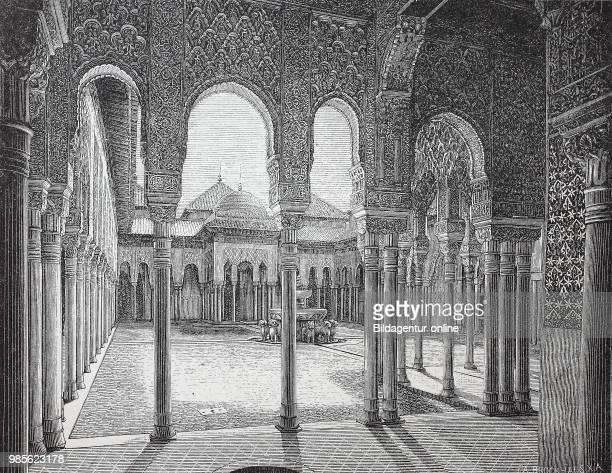 Loewenhof und Saal der Abencerragen in der Alhambra, Spanien, digital improved reproduction of an original print from the year 1895.