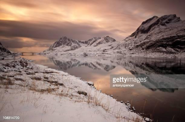 Lofoten Fjord at sunrise