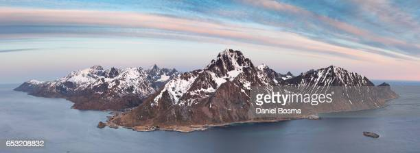 Lofoten islands from above viewing toward Flakstadoya island