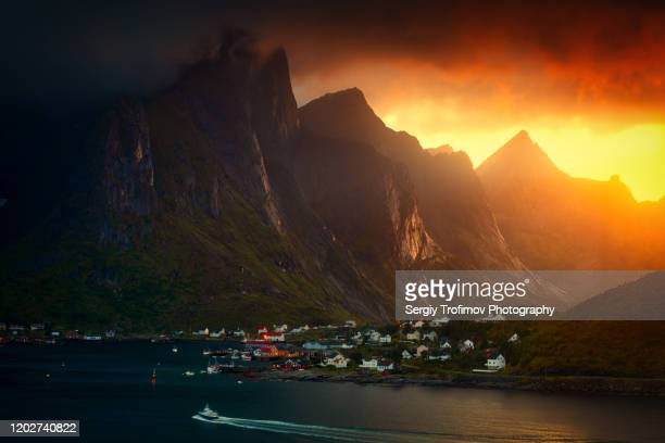 lofoten sunset landscape after the rain - foothills stock pictures, royalty-free photos & images