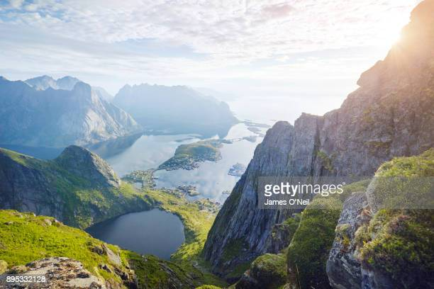 lofoten village riene viewed from surrounding mountain, lofoten, norway - ノルウェー ストックフォトと画像