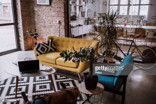loft appartment turned into luxurios office - fashionable stock pictures, royalty-free photos & images