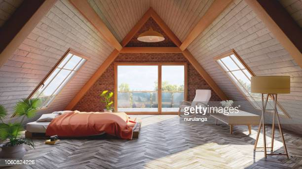 loft attic bedroom concept - bed furniture stock pictures, royalty-free photos & images