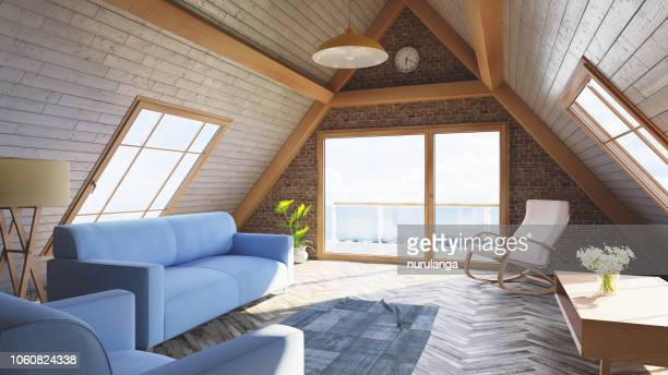 loft attic living room concept - ceiling stock pictures, royalty-free photos & images