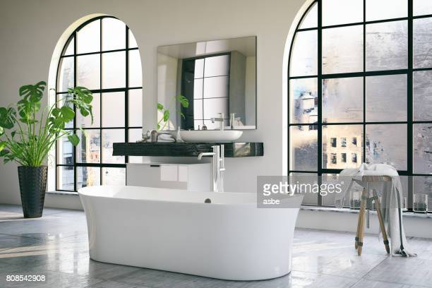 loft bathroom - bathroom stock photos and pictures