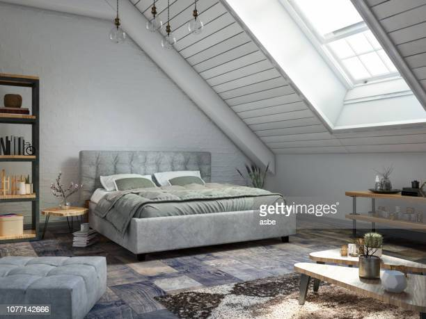 loft bedroom - bedroom stock pictures, royalty-free photos & images
